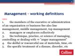 management working definitions