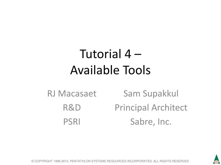 tutorial 4 available tools n.