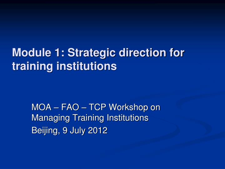 module 1 strategic direction for training institutions n.