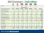 2013 summary cash inflow