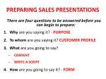 preparing sales presentations