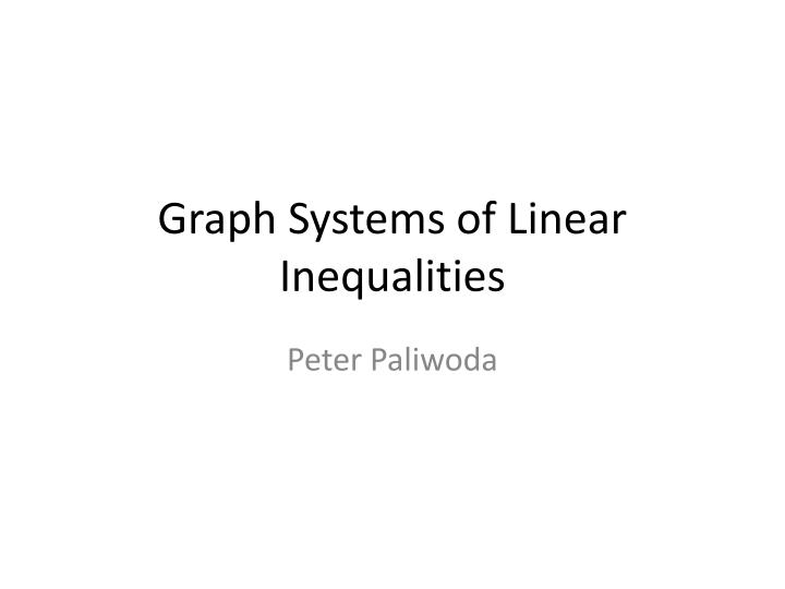 graph systems of linear inequalities n.