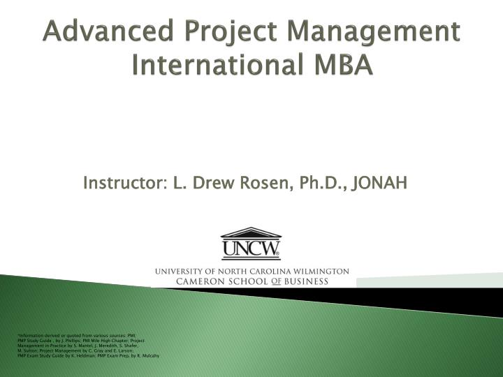 advanced project management international mba n.