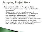 assigning project work