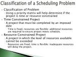classification of a scheduling problem