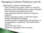 managing customer relations cont d