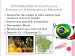 invigoration future plans rationale for international expansion