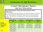 introducing the sgo blueprint student performance targets and self evaluation