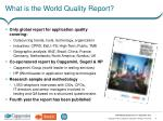 what is the world quality report