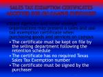 sales tax exemption certificates accepted for on campus purchases
