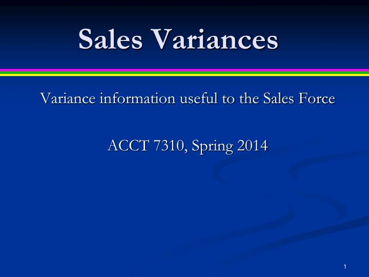 sales variances n.