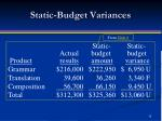 static budget variances