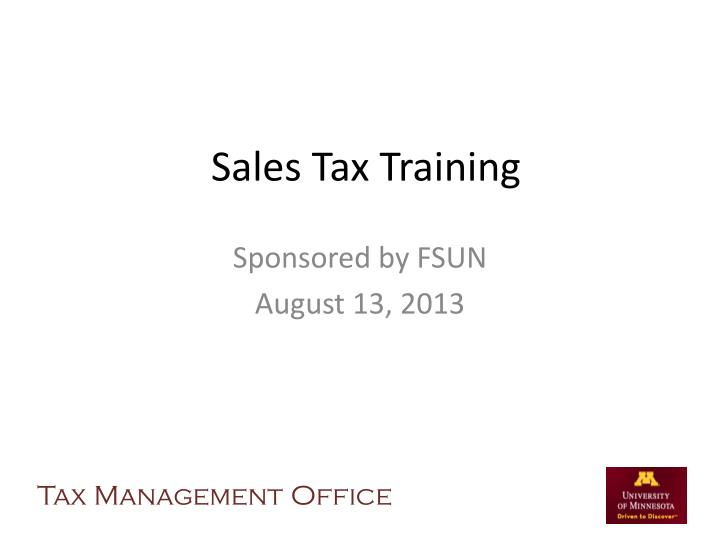 sales tax training n.