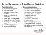 service management in critical success disciplines