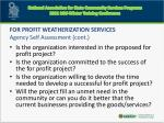 for profit weatherization services agency self assessment cont