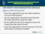 for profit weatherization services agency self assessment