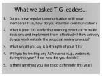 what we asked tig leaders