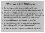 what we asked tig leaders