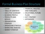 formal business plan structure