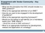 engagement with vendor community key questions