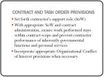 contract and task order provisions
