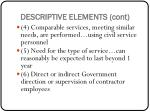 descriptive elements cont