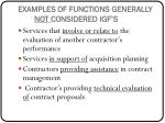 examples of functions generally not considered igf s