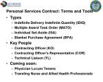 personal services contract terms and tools