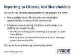 reporting to citizens not shareholders