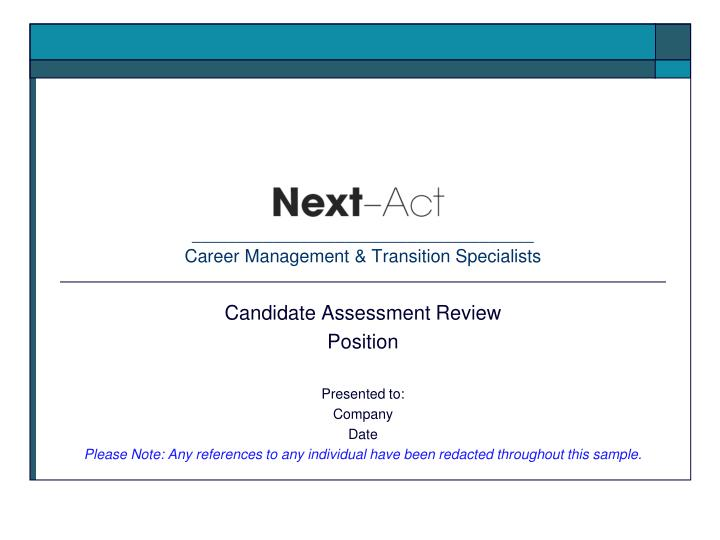 career management transition specialists n.