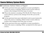 course delivery system matrix