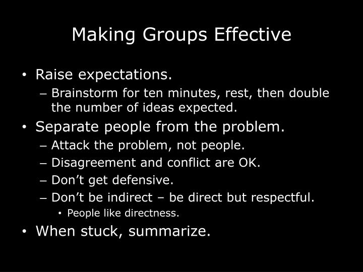 Making Groups Effective