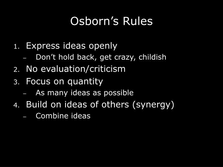Osborn s rules