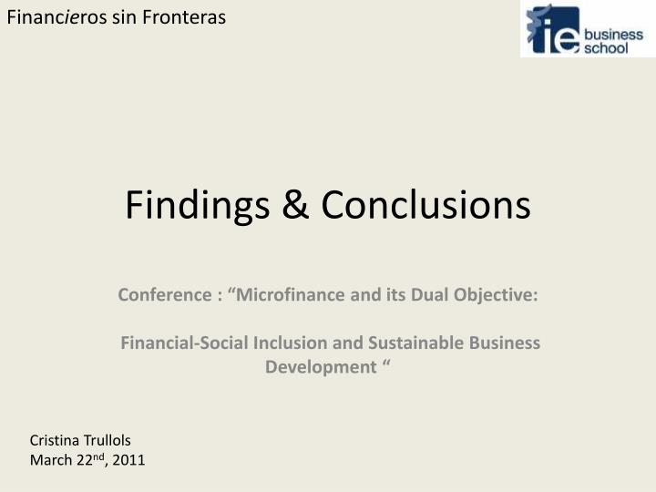 findings conclusions n.