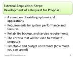 external acquisition steps development of a request for proposal