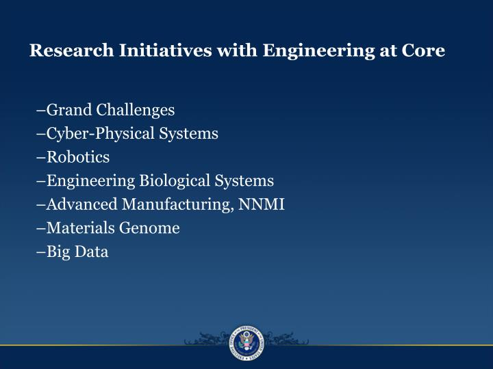 Research Initiatives with Engineering at Core