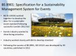 bs 8901 specification for a sustainability management system for events