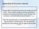 leadership of uk events industry