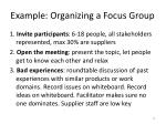 example organizing a focus group
