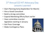 3 rd annual co hit advocacy day lessons learned
