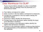 data warehouse v s olap