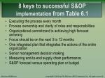 8 keys to successful s op implementation from table 6 1