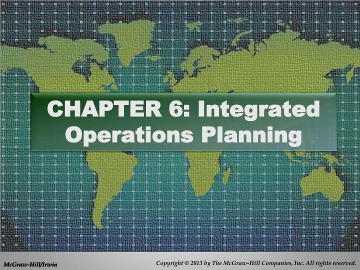 chapter 6 integrated operations planning n.
