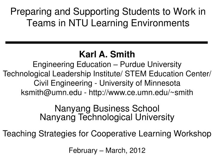 preparing and supporting students to work in teams in ntu learning environments n.