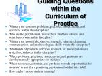 guiding questions within the curriculum of practice