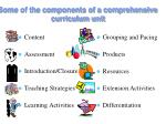 some of the components of a comprehensive curriculum unit