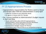 fy 15 appropriations process