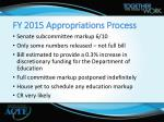 fy 2015 appropriations process