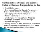 conflict between coastal and maritime states on hazmats transportation by sea