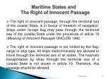 maritime states and the right of innocent passage